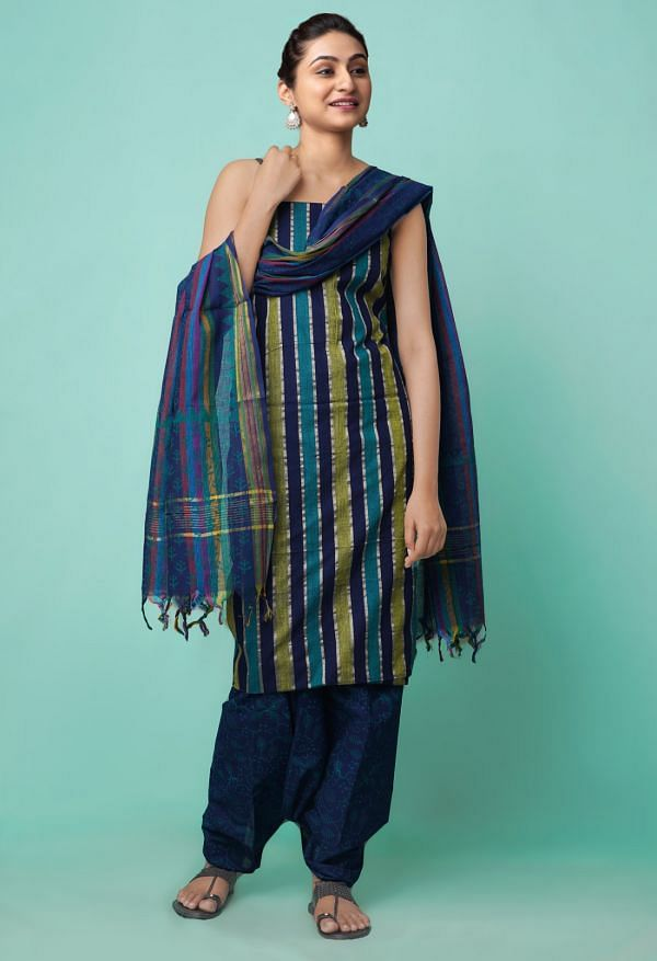 Online Shopping for Unstitched Multi-Blue Pure Mangalagiri Cotton Salwar Kameez with Weaving from Andhra Pradesh at Unnatisilks.comIndia