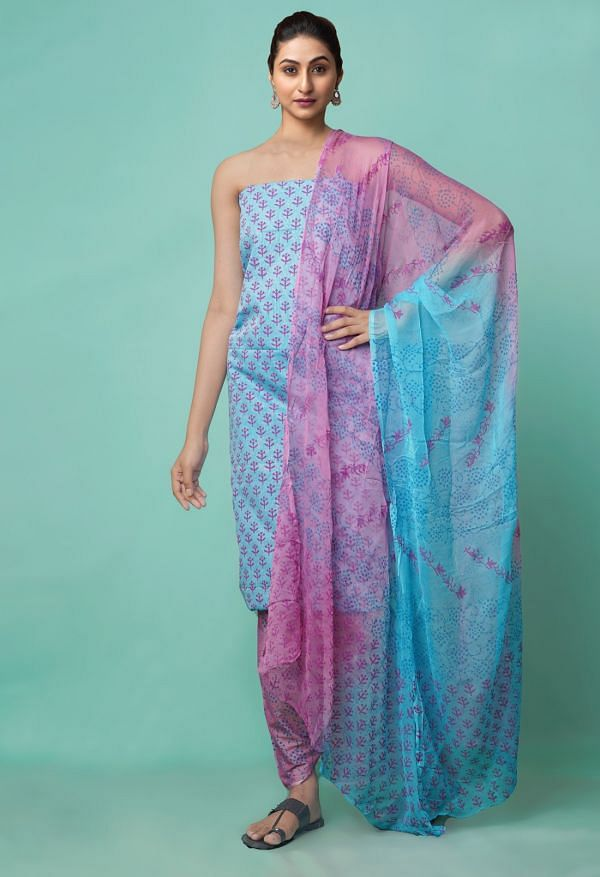 Online Shopping for Unstitched Blue-Pink Pure Rajasthani Cotton Salwar Kameez with Weaving from Andhra Pradesh at Unnatisilks.comIndia