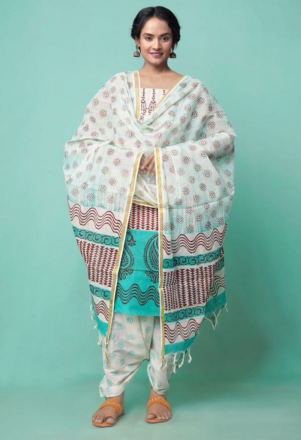 Online Shopping for Unstitched Ivory Pure Rajasthani Cotton Salwar Kameez with Weaving from Andhra Pradesh at Unnatisilks.comIndia