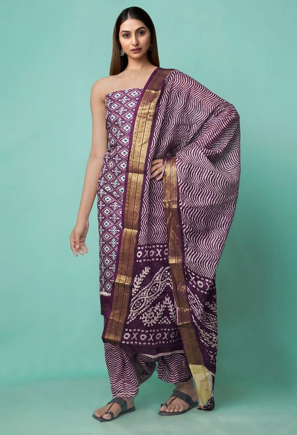 Online Shopping for Unstitched Purple Pure Rajasthani Cotton Salwar Kameez with Hand Block Prints from Rajasthan at Unnatisilks.comIndia