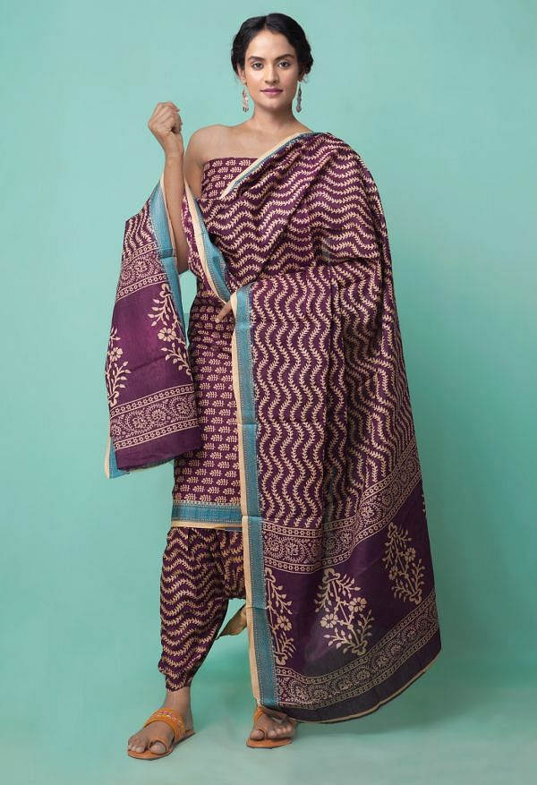 Online Shopping for Unstitched Burgundy Pure Rajasthani Cotton Salwar Kameez with Hand Block Prints from Rajasthan at Unnatisilks.comIndia
