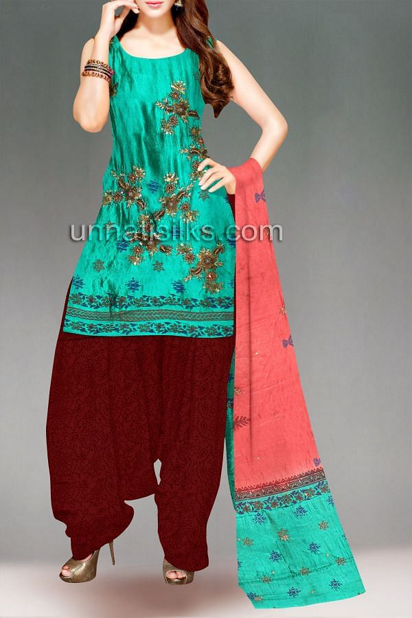 SDP01-Unstitched peacock green-red raw silk salwar kameez