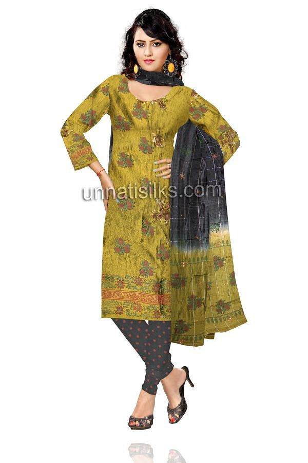 SDP03-Unstitched party green and black raw silk salwar kameez