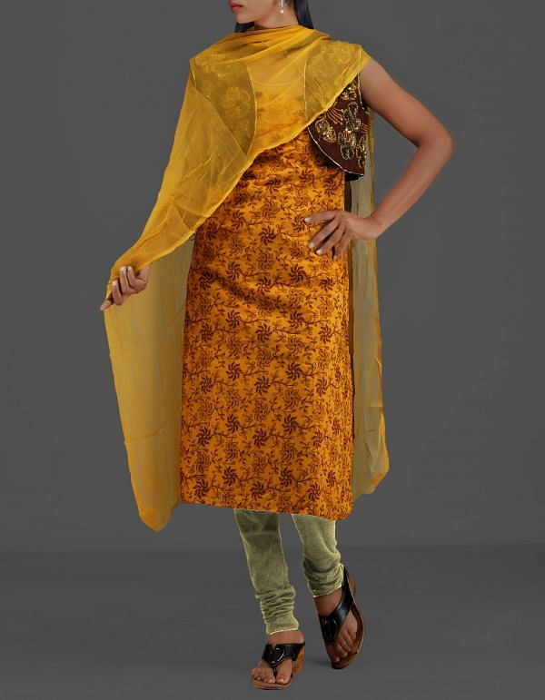 SDP042-Unstitched Yellow-Cream Jaipuri Cotton Silk Salwar Kameez