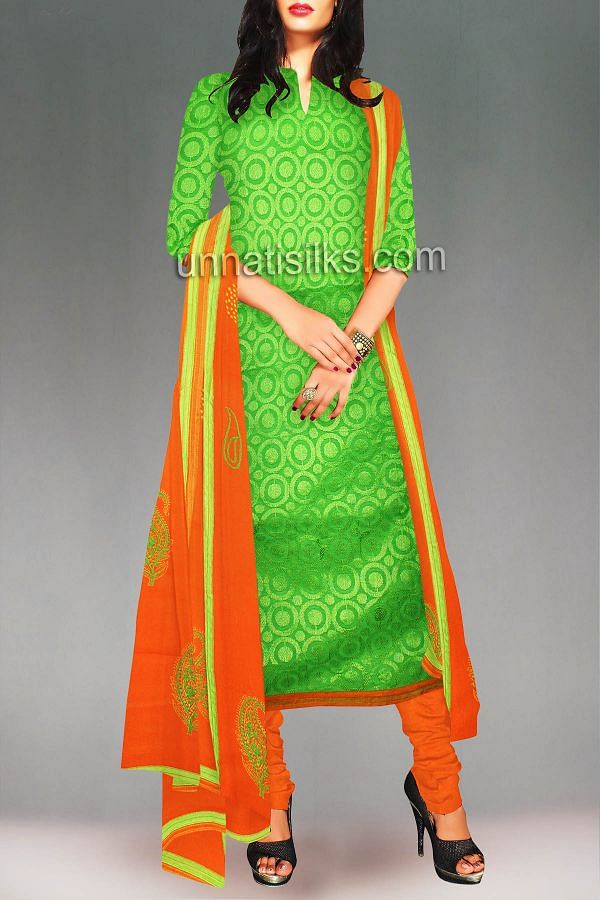 SDP051-Unstitched green-orange chanderi cotton salwar kameez