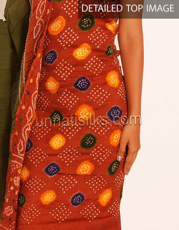 SDP058-Unstitched brown-green pure bandhini cotton salwar suit