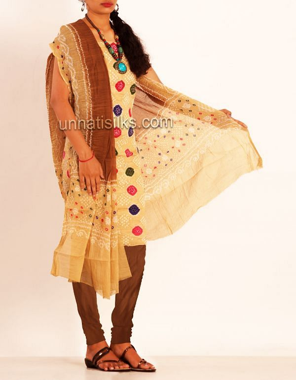 SDP059-Unstitched cream and brown pure bandhini cotton salwar kamiz