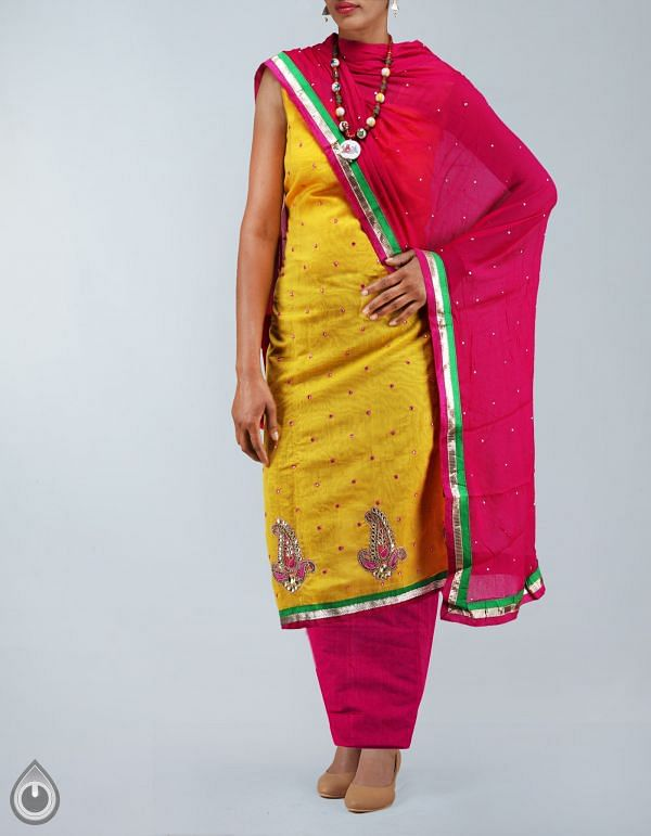 SDP060-Unstitched Yellow-Pink Chanderi Silk Salwar Kameez