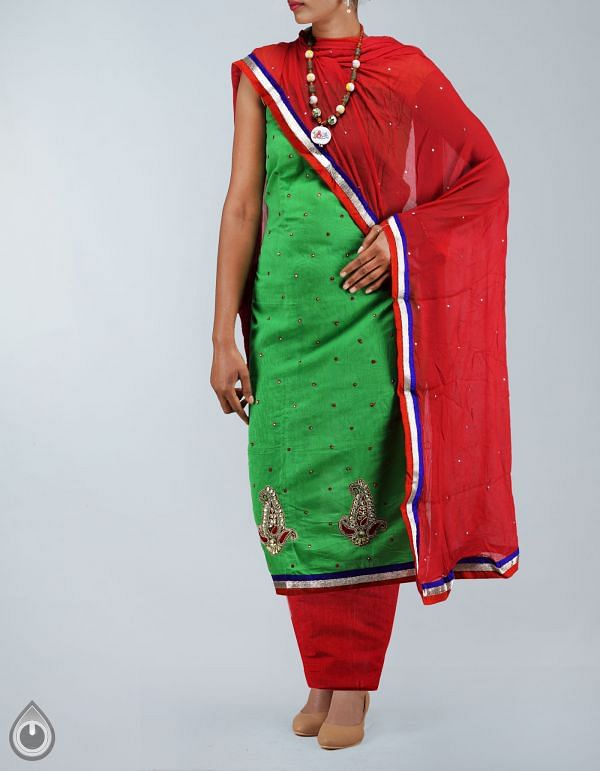 SDP061-Unstitched Green-Red Chanderi Silk Salwar Kameez