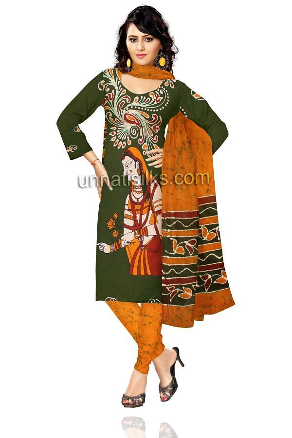 SDP077-Unstitched corporate green and orange Batik pure cotton salwar kameez
