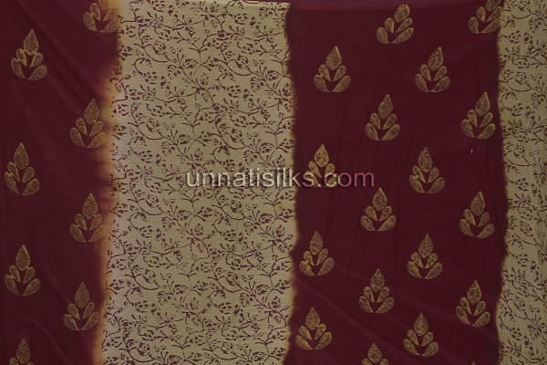 Chunni of SDP09-Unstitched wedding maroon and cream fancy silk salwar kameez