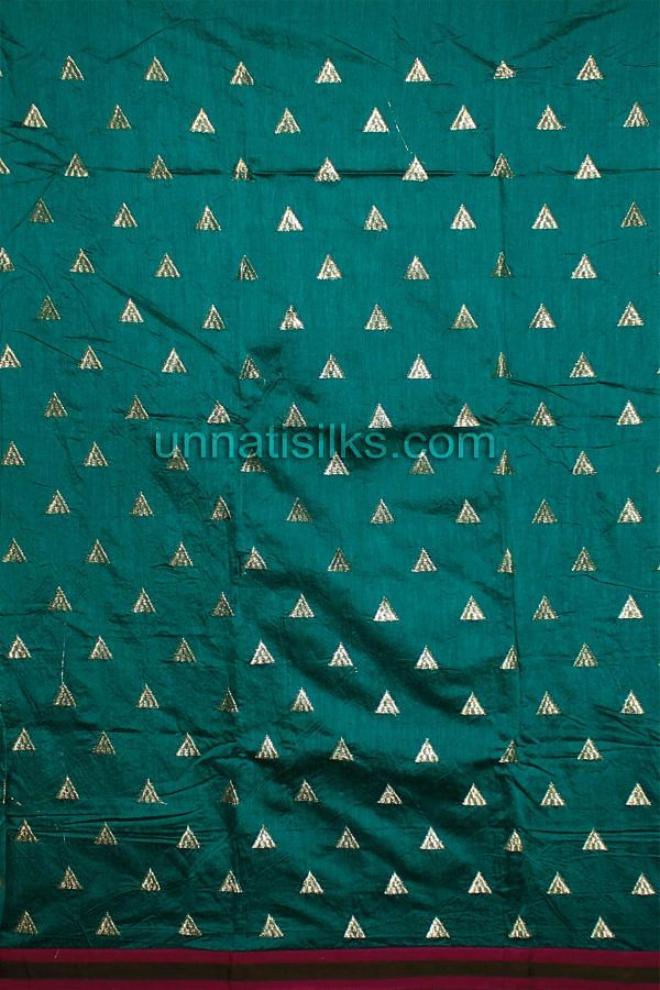 SDP111-Unstitched aqua green-purple chanderi silk salwar suit