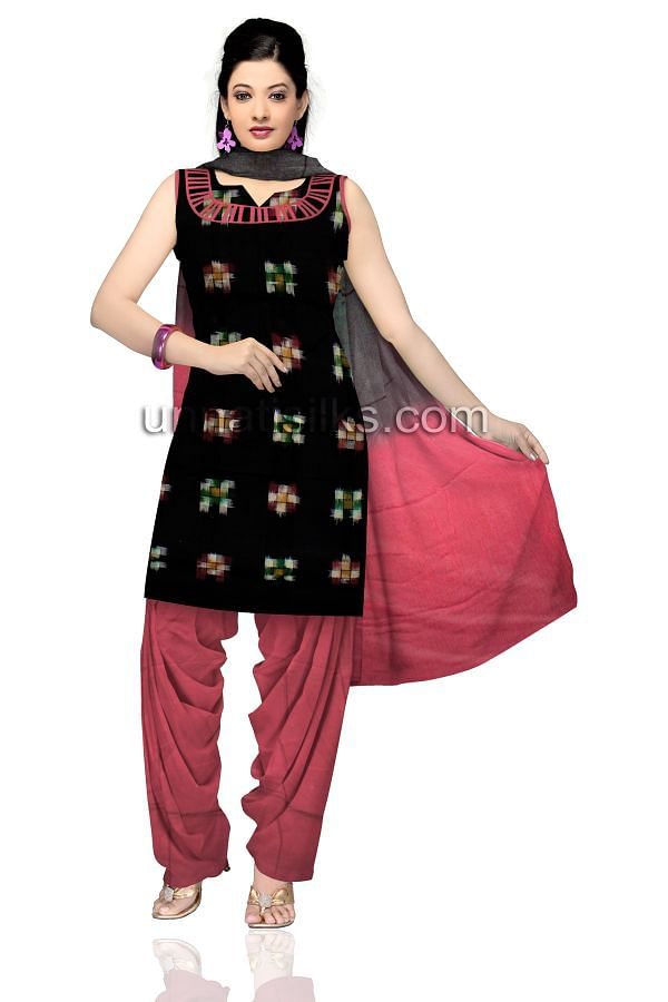 SDP136-Unstitched casual black and pink pochampally cotton salwar kameez