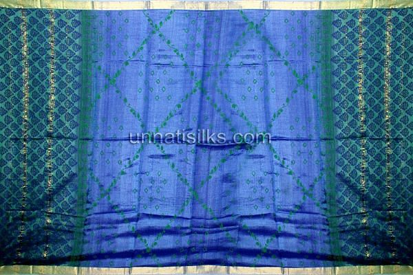 SDP146-Unstitched green and blue pure tussar silk salwar suit with dupatta
