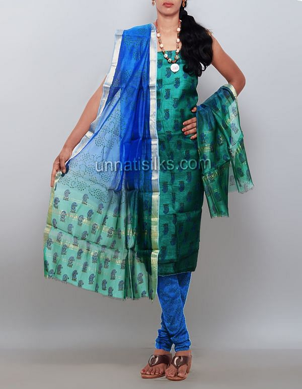 SDP147-Unstitched green-blue pure tussar silk salwar suit