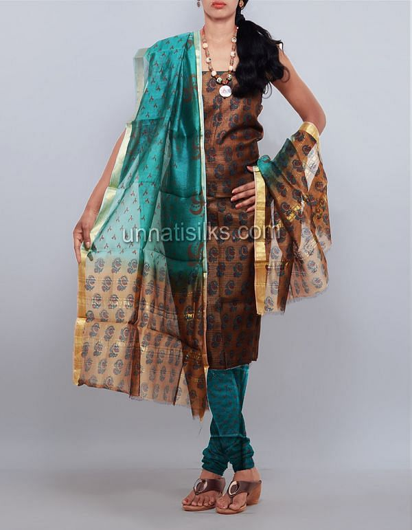 SDP149-Unstitched party brown-green tussar silk salwar suit
