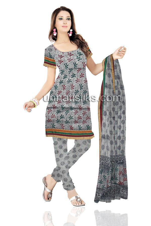 SDP157-Unstitched grey handloom cotton salwar kameez with dupatta