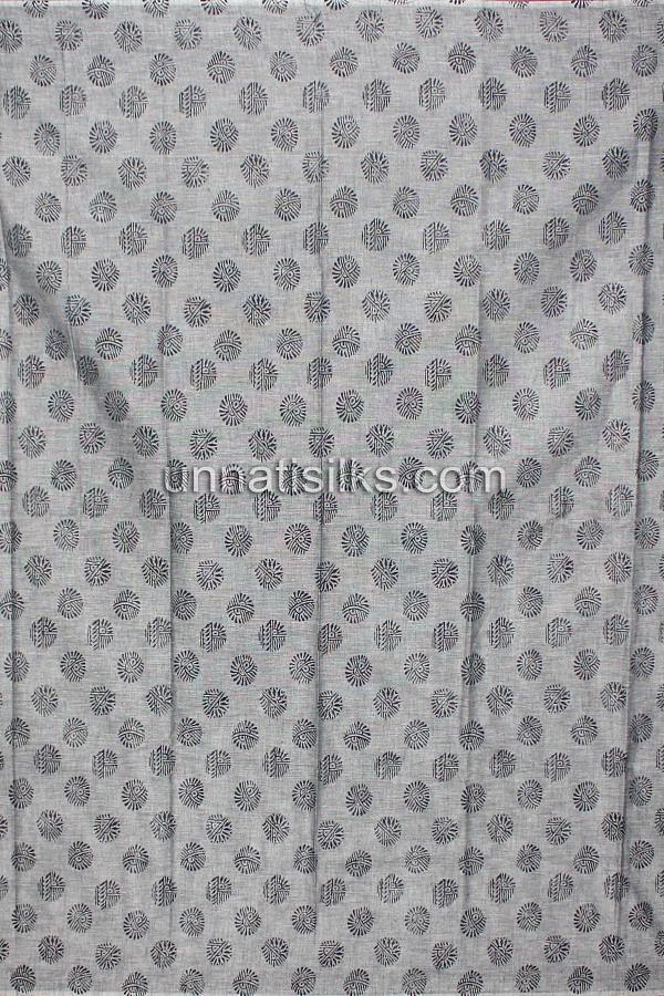 Bottom of SDP157-Unstitched grey handloom cotton salwar kameez with dupatta