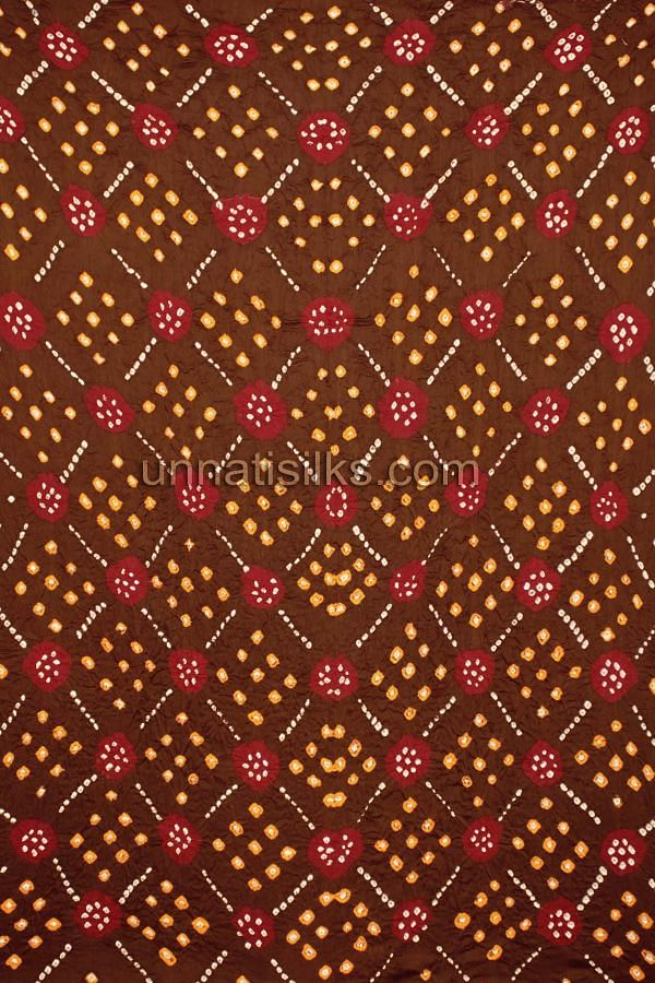 SDP173-Unstitched brown-maroon bandhini pure cotton salwar kameez