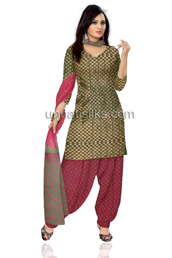 SDP175-Unstitched casual green and pink chanderi cotton silk salwar kameez