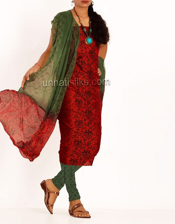 SDP182-Unstitched red-green chanderi cotton silk salwar suit