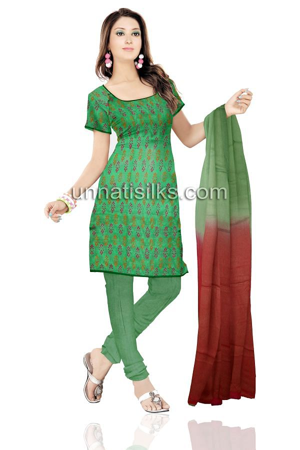 SDP183-Unstitched casual green chanderi cotton silk salwar kameez