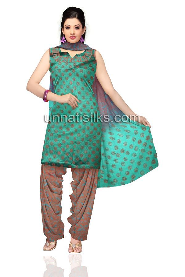 SDP186-Unstitched casual green and brown chanderi cotton silk salwar kameez