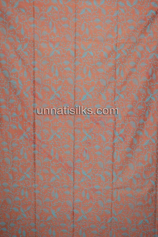 Bottom of SDP186-Unstitched casual green and brown chanderi cotton silk salwar kameez