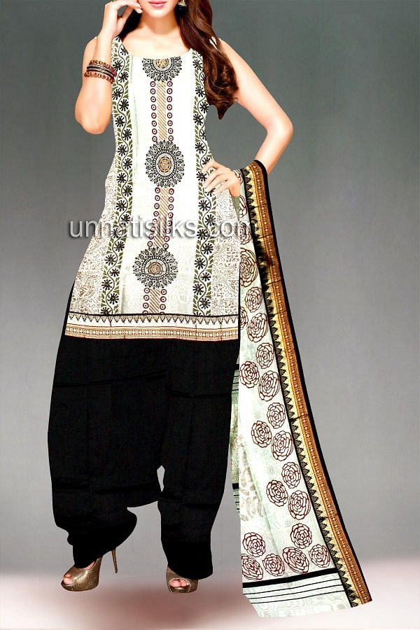 SDP219-Unstitched cream-black narayanpet cotton chudidar