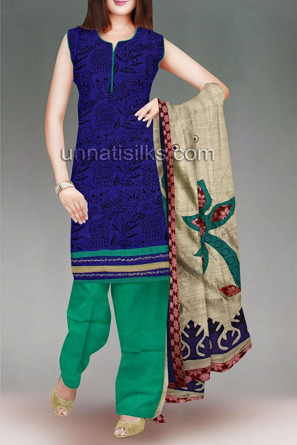 SDP045-Unstitched casual blue and green chanderi silk salwar kameez