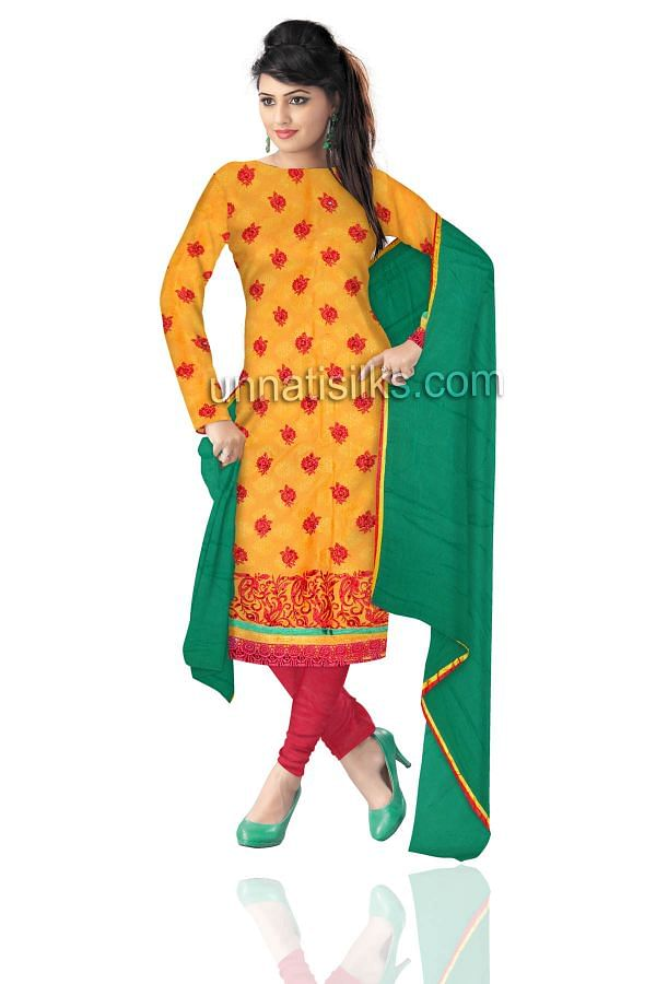 SDP140-Unstitched trendy yellow and red jaipuri pure cotton salwar kameez