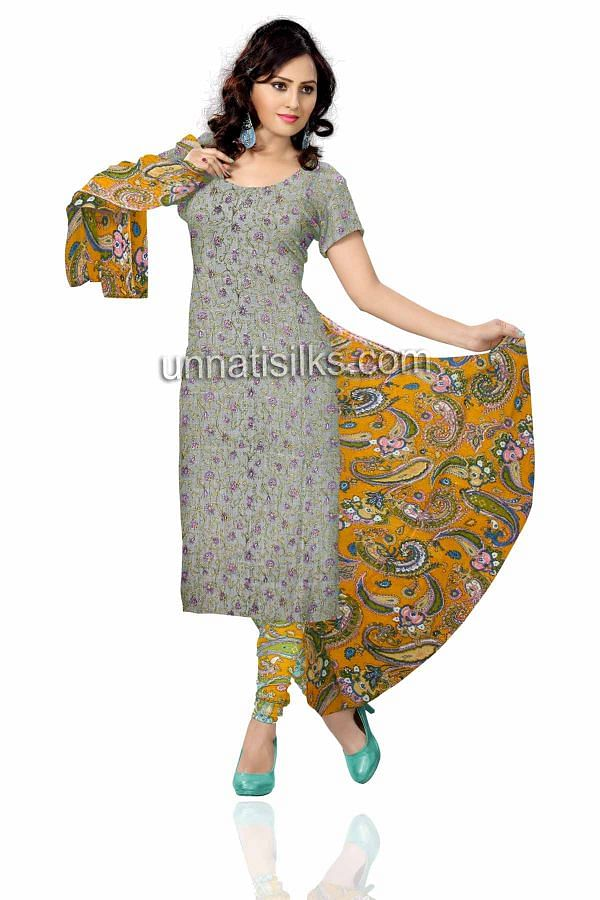 SDP220-Unstitched casual gray and bright yellow Rajasthani cotton salwar kameez