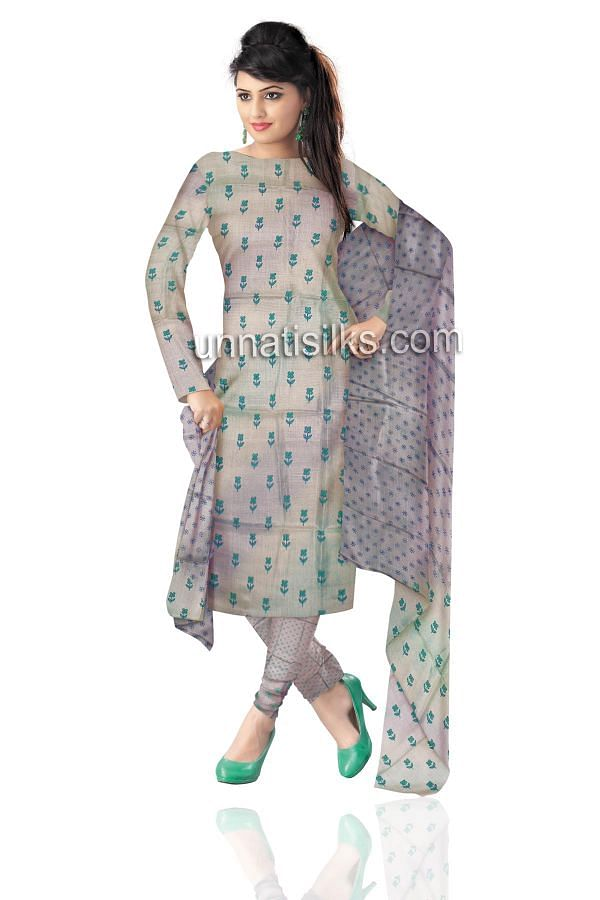 SDP230-Unstitched pale green and grey pure Tussar silk salwar kameez