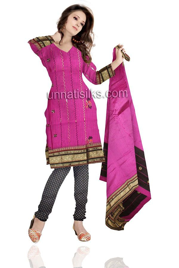 SDP233-Unstitched casual pink and black Rajasthani cotton salwar kameez