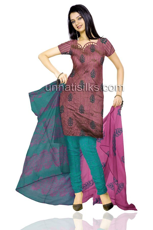 SDP016-Unstitched wedding purple and green fancy silk salwar kameez