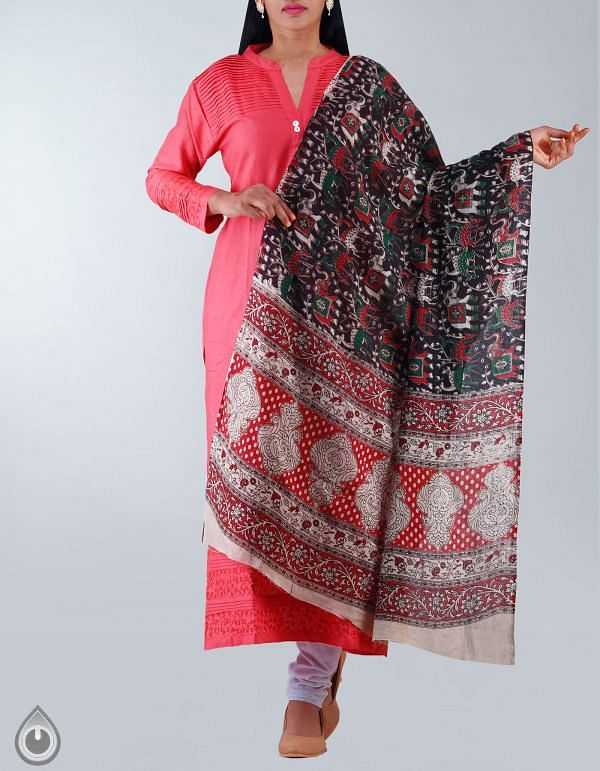 Online Shopping for Black Pure Kalamkari Cotton Dupatta with Kalamkari Prints from Andhra Pradesh at Unnatisilks.com, India