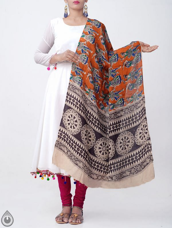 Online Shopping for Orange Pure Kalamkari Cotton Dupatta with Kalamkari Prints from Andhra Pradesh at Unnatisilks.com, India