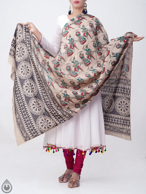 Cream Pure Kalamkari Cotton Dupatta-UDS1145