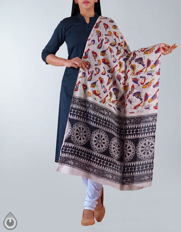 UDS1151-Cream Pure Kalamkari Cotton Dupatta