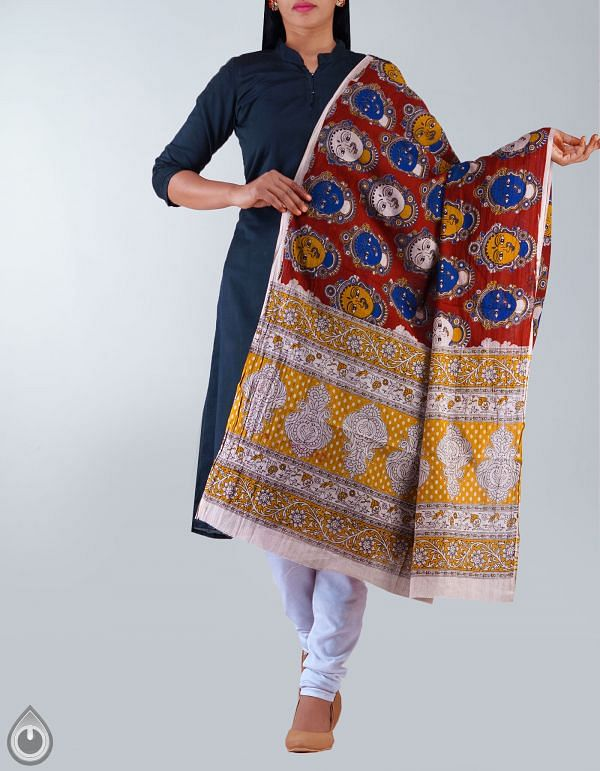 Rust Orange Pure Kalamkari Cotton Dupatta-UDSP1155