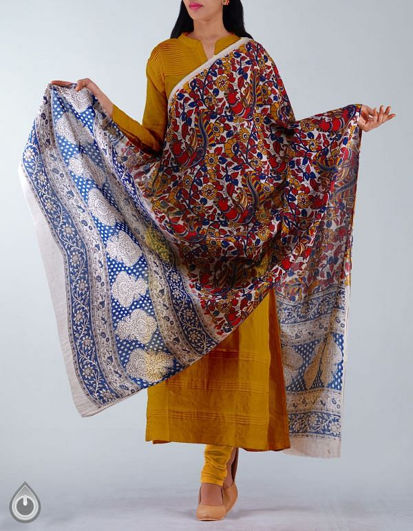 UDS1178-Cream Pure Kalamkari Cotton Dupatta