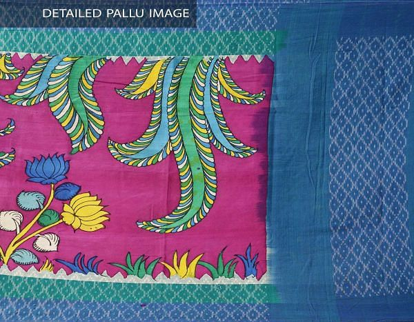 Pink-Blue Pure Hand Painted Kalamkari Cotton Ikat Dupatta-UDSP1181