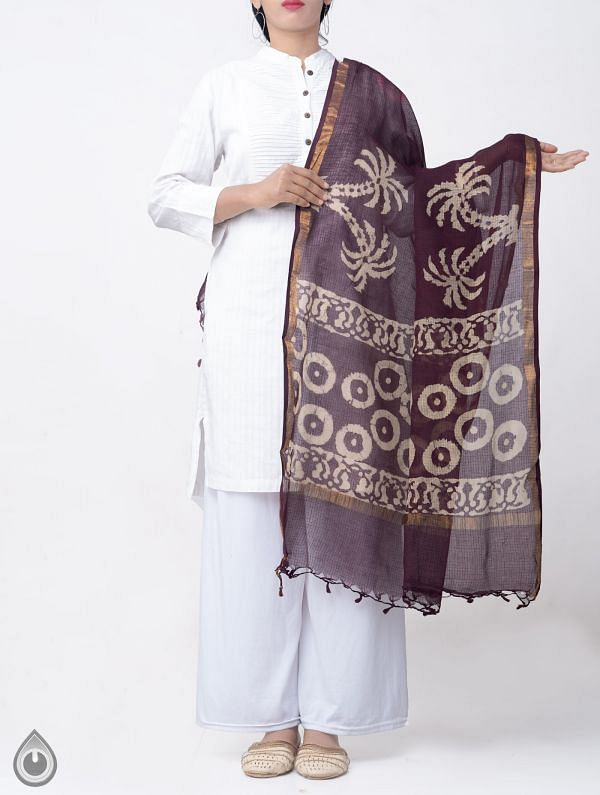 Online Shopping for Maroon Pure Kota Silk Dupatta with Dabu Prints from Rajasthan at Unnatisilks.com, India