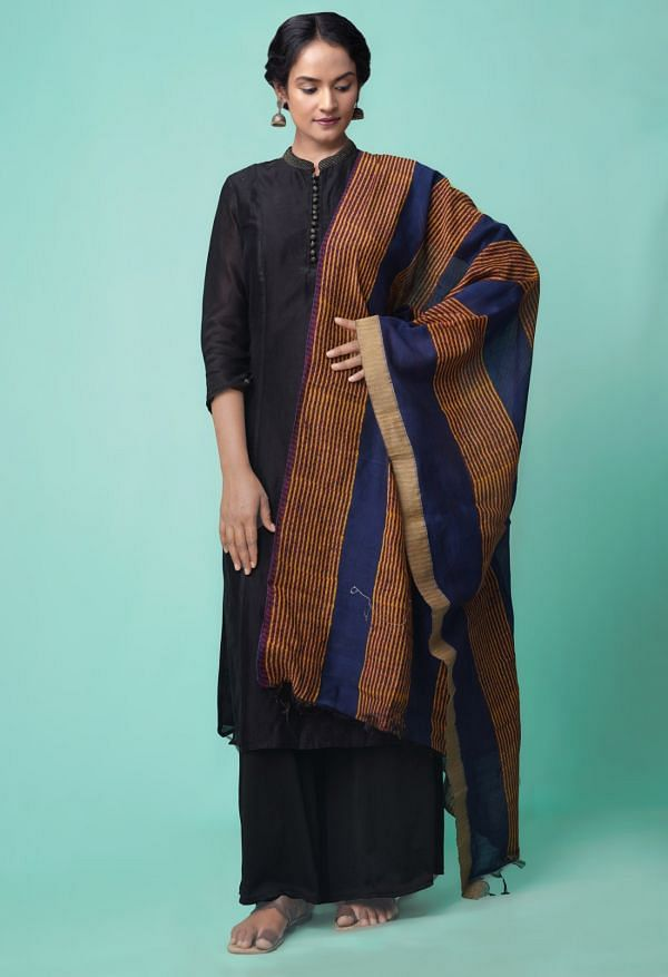 Online Shopping for Blue Pure Chanderi Sico Dupatta  with Weaving from Andhra Pradesh at Unnatisilks.comIndia