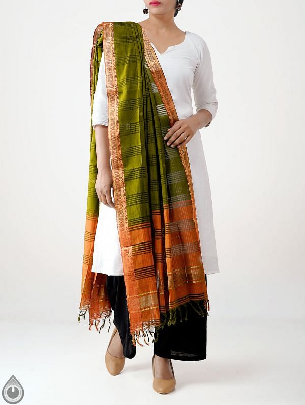 Online Shopping for Green Pure Handloom Mangalagiri Cotton Dupatta with Weaving from Andhra Pradesh at Unnatisilks.com India