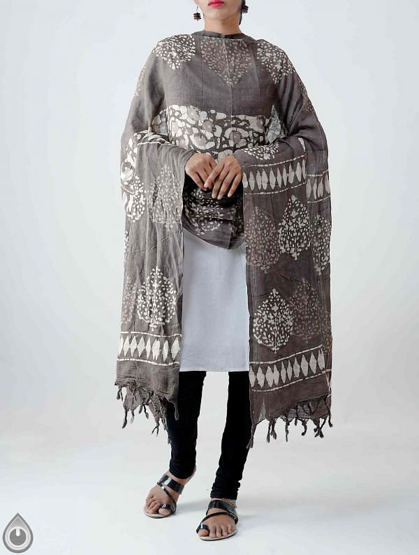 Grey Pure Dabu Printed  Rajasthani Cotton Dupatta-UDSP1977