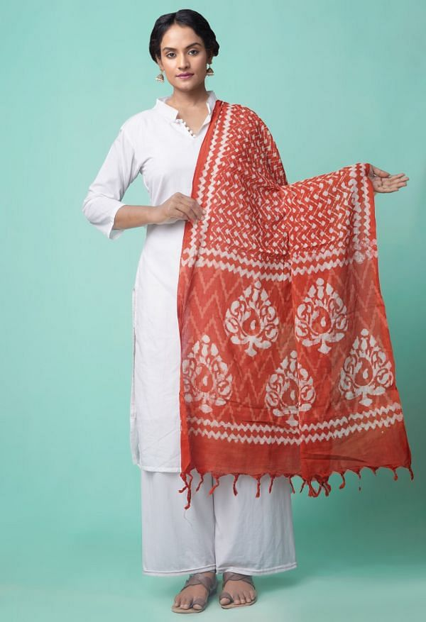 Online Shopping for Red Pure Dabu Printed  Rajasthani Cotton Dupatta with Prints from Andhra Pradesh at Unnatisilks.comIndia
