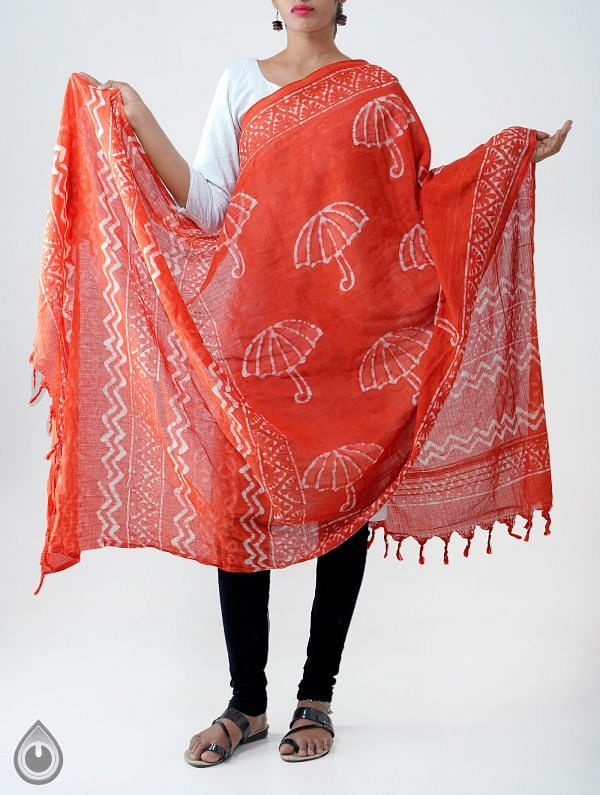 Online Shopping for Red Pure Rajasthani Cotton Dupatta with Dabu prints from Rajasthan at Unnatisilks.comIndia