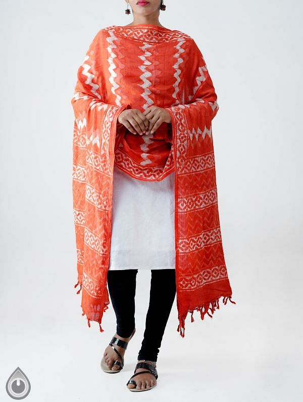 Online Shopping for Red Pure Dabu Printed  Rajasthani Cotton Dupatta with Dabu prints from Rajasthan at Unnatisilks.com India