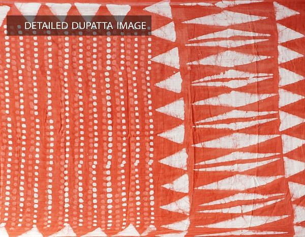 Red Pure Dabu Printed  Rajasthani Cotton Dupatta-UDSP1999